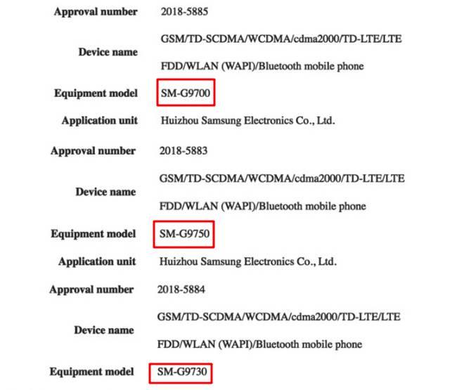 Номера моделей Samsung Galaxy S10 для Китая