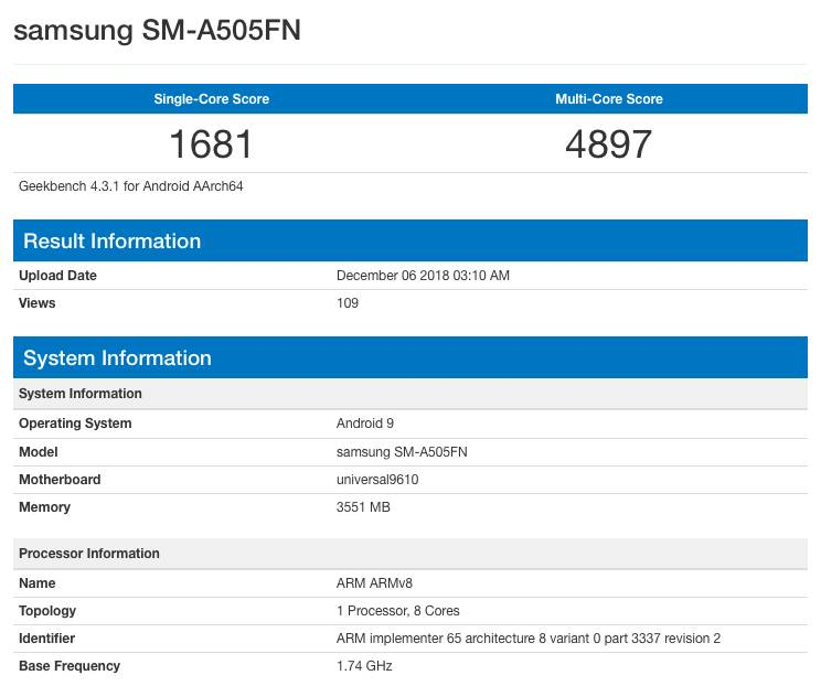 Samsung Galaxy A50 засветились в популярном бенчмарке Geekbench