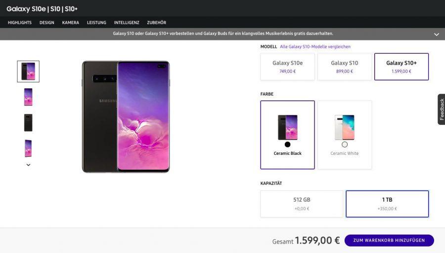 Цена Samsung Galaxy S10+ Pro в Германии
