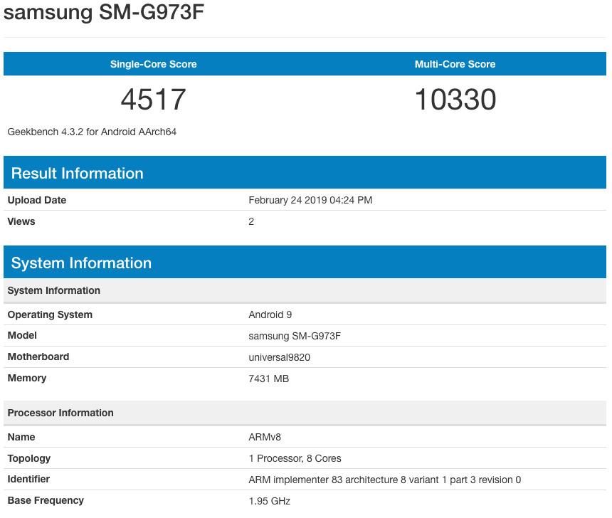 SM-G973F - Geekbench