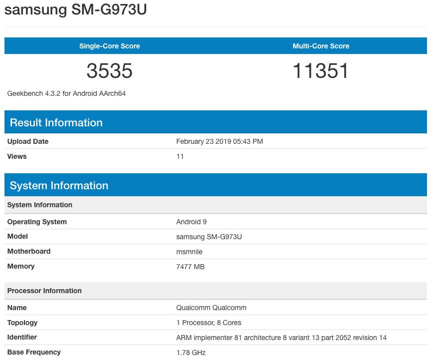 SM-G973U - Geekbench