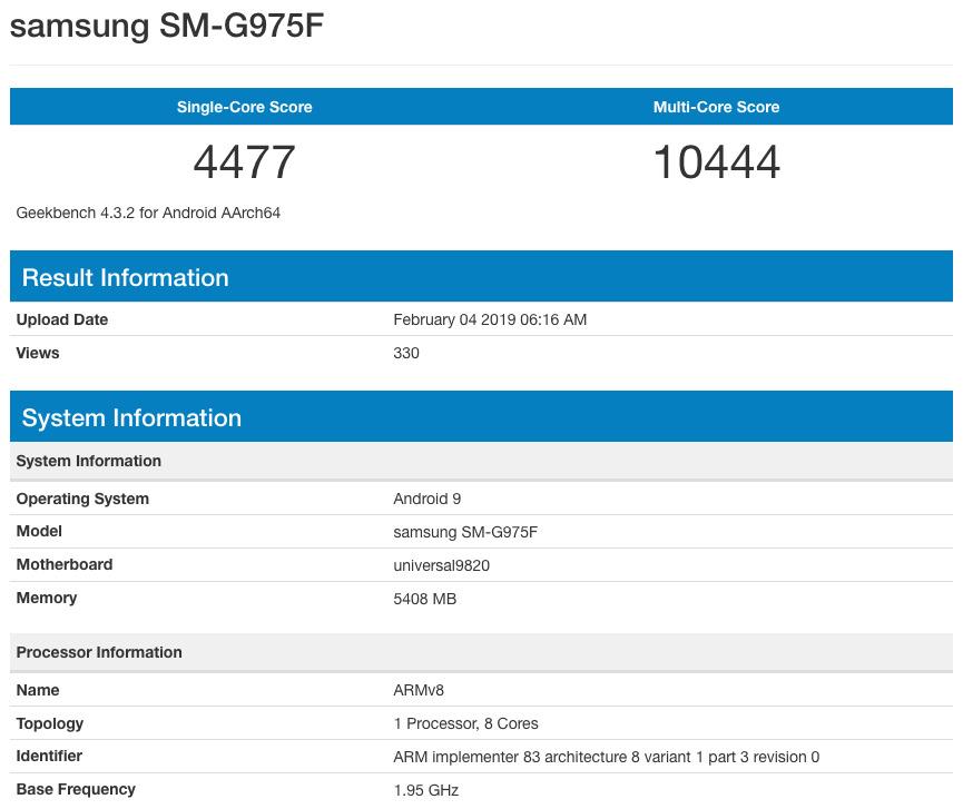 Международная версия Samsung Galaxy S10+ SM-G975F в бенчмарке GeekBench