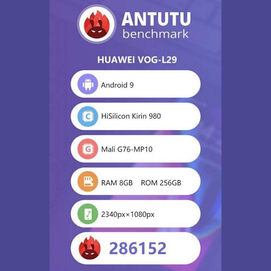 Huawei P30 Pro набрал в бенчмарке AnTuTu 286 152 баллов