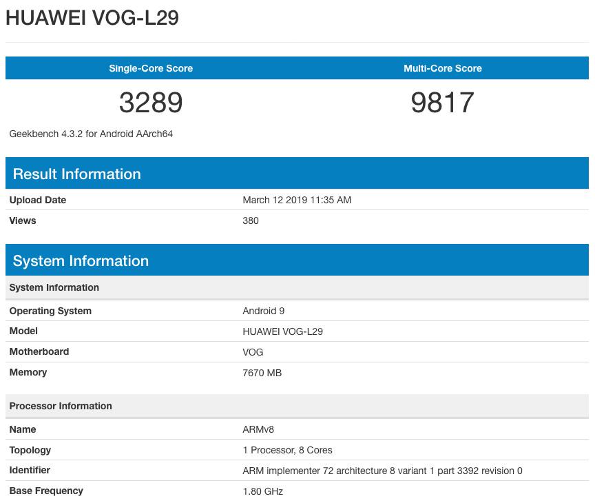 Huawei P30 Pro в GeekBench