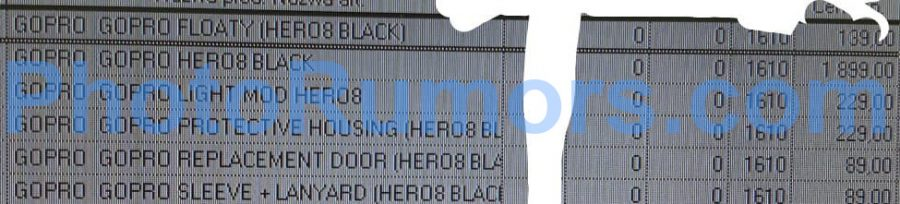 Цена GoPro Hero 8 в одной из утечек