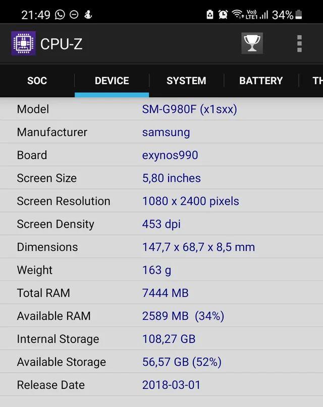 Samsung Galaxy S20 - узнаем процессор с помощью CPU-Z