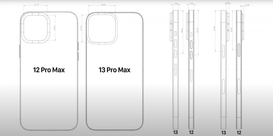 Размеры Apple iPhone 13 Pro Max в сравнении с 12 Pro Max на Cad-рендере